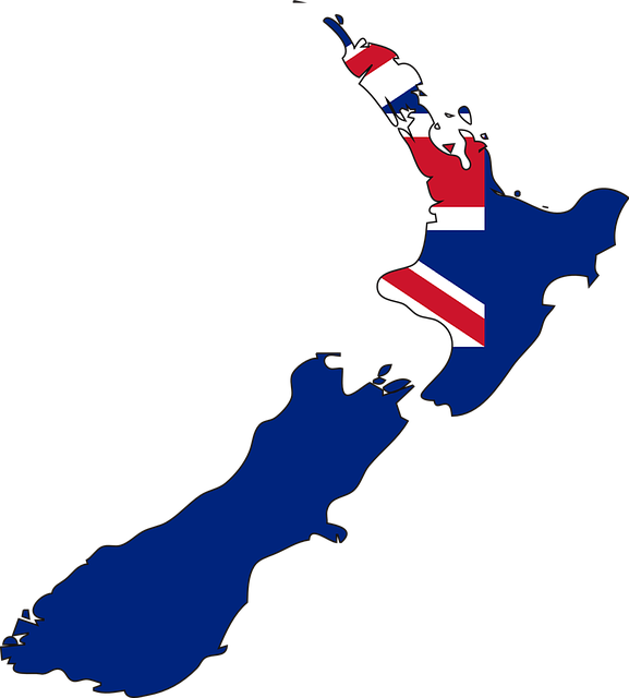 path to permanent residency in new zealand : map of new zealand coloured with new zealand flag