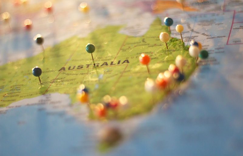 australian visa : thumb pins pinned on a map of australia